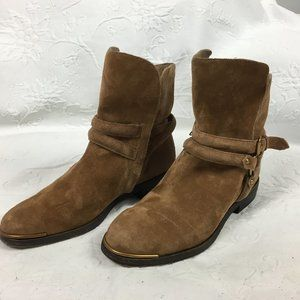 UGG Kelby Suede Ankle Boots with Buckle and Zipper